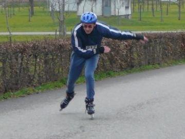 Erich beim Endspurt Inline Skating Der Unterlandstafette